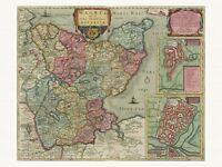 Alte Wagrien Oldenburg Deutschland Landkarte Blaeu ca. 1655 Papier Leinwand