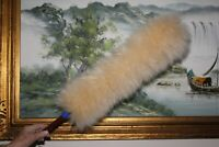 Lambswool car cleaning duster in honey colour 16mm diameter x 60cm handle