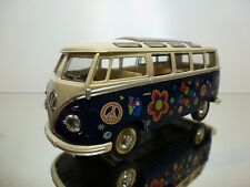 KINSMART VW VOLKSWAGEN T1 SAMBA 1962 PEACE & LOVE - BLUE 1:24 - GOOD CONDITION