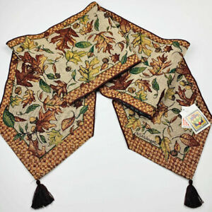 "Autumn Fall Maple Leaves Acorns 72"" Tapestry Table Runner ~Artist, Susan Winget"