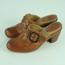 Frye Candice Woven Clogs 8M Cognac Tan Platform Heels Mules Studs Harness Belted
