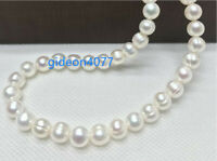 """Huge AAA+ 11-12MM Real South Sea white Baroque Pearl Necklace 14k GOLD CLASP 18"""""""