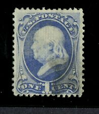 US STAMPS SCOTT 134 USED GRILL 1870 1c ULTRAMARINE SOUND NO DEFECTS