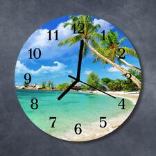 Glass Wall Clock Kitchen Clocks 30 cm round silent Beach Palm Trees Green
