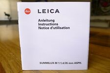 Leica Summilux M 35mm f/1.4 Lens Manual Only Mint *No Lens*