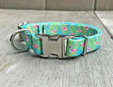 """5/8""""  Thin Small Tropical Flamingo Dog Collar with Metal Buckle for Summer"""