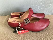 BNWT Ladies Sz 6 Rivers Brand Red Leather look Slip on Clog style Dress shoes