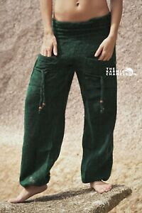 Warm Harem Hippie Pants Green Yoga Festival Loose Boho Gypsy Comfy Winter Soft