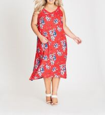 Plus Size Autograph Floral Red Viscose Midi Dress Size 14 free Post