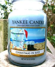 """Yankee Candle """"CHRISTMAS IN JULY"""" DEERFIELD VILLAGE EXCLUSIVE  Large 22 oz.~RARE"""