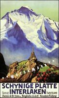 Interlaken Switzerland 1936 Schynige Platte Vintage Poster Print Retro Travel