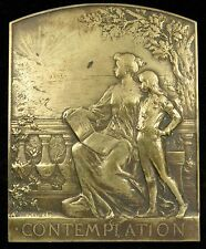 French Uniface Art Medal Plaque Contemplation Auguste Maillard Bronze