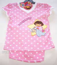 Dora The Explorer Girls Pink White Stars Embroidered Pyjama Set Size 6 New