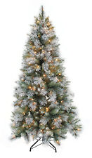 """7.5' x 54"""" Slim Sterling Spruce Artificial Christmas Tree w/ 500 Clear Lights"""