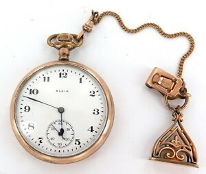 GOOD CASE + GREAT FOB / 1919 ELGIN 16S 7J MENS POCKET WATCH.