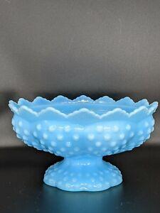 Vintage Fenton Blue Milk Glass Hobnail Centerpiece Candle Holder Footed Slag