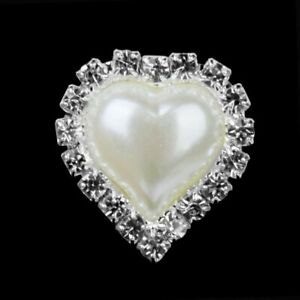 Heart Ivory Pearl Rhinestone Flatback Button - Silver - 23mm Metal Embellishment