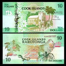 New listing Cook Islands 10 Dollars 1992 Unc 2 Pcs Consecutive Lot Aaa Prefix , P-8