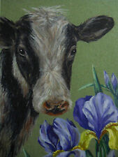 Cow Farm animal Iris floral country print of painting