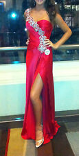 MAC DUGGAL RED SILK CHARMEUSE SZ 4 ALTERED SZ 2 LONG GOWN ONE SHOULDER PROM