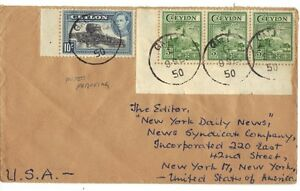 CEYLON US 1950 MIXED FRANKING COVER TO NEW YORK