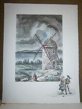 Gravure moulin a vent par P.Valade moulin du seigneur Restou  Camaret Finistére