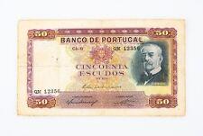 1938 Portuguese Fifty Escudos Ouro Note Fine Banco de Portugal 50$00 P#149