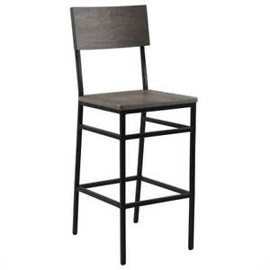 New Henry Steel Bar Stool with Shaker Gray Wood Seat and Back