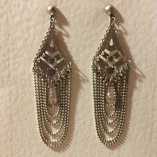 LONG looped chain DK SILVER PLATED DROP EARRINGS pink beads stud hook CHANDELIER