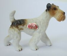 Fox Terrier Dog Figurine Vintage Miniature Bone China w/ Label Japan