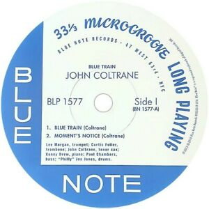 "BLP 1577 JOHN COLTRANE BLUE TRAIN JAZZ BLUE NOTE REPRO  VINYL STICKER  100MM 4"""