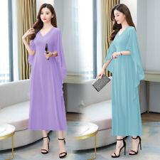 New Women V Neck Oversize Loose Batwing Sleeve Maxi Long Chiffon Dress Slim Gown