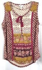 Style & Co. NWT Women's Plus Size 1X Knit Tank Top Blouse Burgundy Gold V-Neck