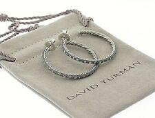 DAVID YURMAN Sterling .66ct Diamond Large Midnight Melange 42mm Hoop Earrings