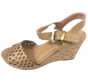 Womens Ladies Tan Faux Leather High Wedge Heel Summer Shoes Sandals Size 4 New