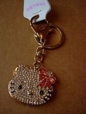 Carino Gatto/Kitty fiocco rosso cristallo specchio portachiavi/Borsetta Charm-NUOVO