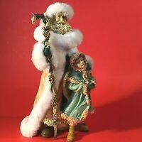 "SANTA & ANGEL FIGURINE CHRISTMAS PAST VINTAGE LARGE 9 1/2"" GIRL HAND DECORATED"
