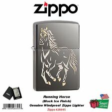 Zippo Running Horse Lighter, Black Ice Finish, Genuine USA Windproof #28645