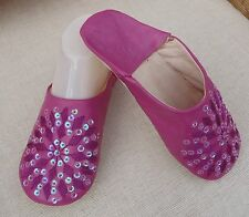 MOROCCAN * MAGENTA LEATHER SEQUINED SLIPPERS * 6/39*