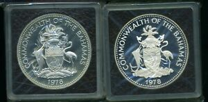 Commonwealth of the Bahamas 1978 $10 Silver Two-Mint Proof Set w/ Box & CoA J644