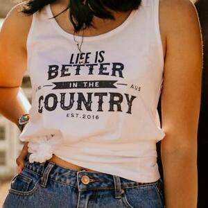 Country Life Ladies White Singlet