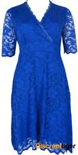 Blue Lace Dress Comfortable Stretch Fabric Floral Overlay Sizes 14-16-18-20
