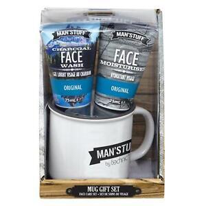 Technic Man'Stuff Mug & Men's Toiletries Gift Set Charcoal Face Wash Moisturiser