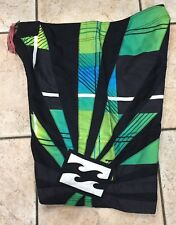 Men's Black Green Billabong Hawaiian Rising Sun Surf Board Shorts Andy Irons 38