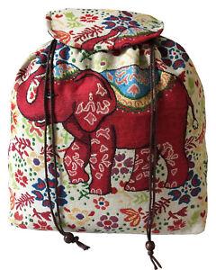 Girls Ladies Women Drawstring Backpack Rucksack School Uni Shoulder Elephant Bag