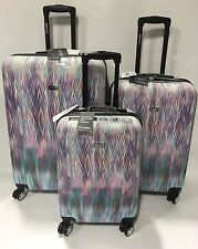 NEW STEVE MADDEN LUGGAGE 3PC LUGGAGE SET SPINNER COLLECTION WHITE DIAMOND PRINT