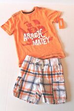 Gymboree Seas the Day Orange Pirate Shirt & Plaid Shorts Outfit Toddler Boy 2T