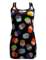 NEW LADIES MULTI CUPCAKES SKULLS PRINT LONG VEST TANK TOP FUNKY PUNK GOTHIC