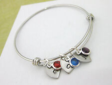 Personalized Expandable Bangle Bracelet 3 Birthstones & Hearts with Initial Gift
