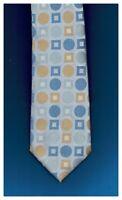 "BCBG Attitude Tie Polka Dot White Blue Gold Silk Hand Sewn 58"" x 3.5"" New"